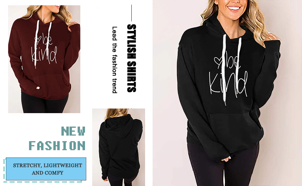 Womens Be Kind Hoodie Pullover Sweatshirt Long Sleeve Casual Fall Tops Graphic Shirt Sweaters