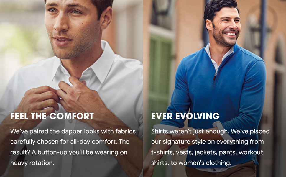 Comfortable fabrics, not just shirts but also UNTUCKit t-shirts, vests, jackets, pants, workout