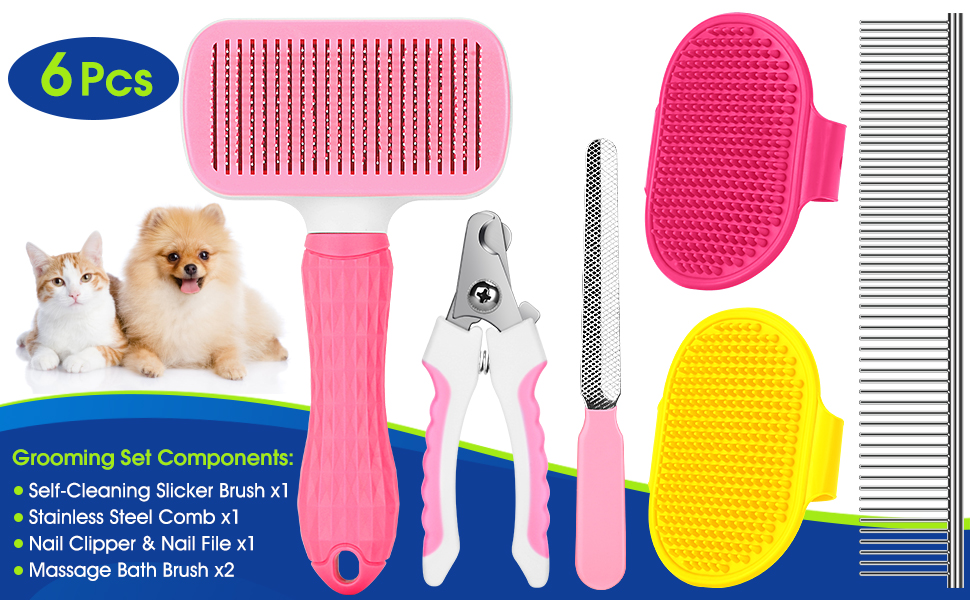Grooming Brush Set Components