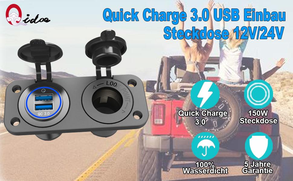 QC 3.0 USB Steckdose KFZ 12V 24V Quick Charge 3.0 Auto Ladegerät Einbau Buchse Wasserdicht
