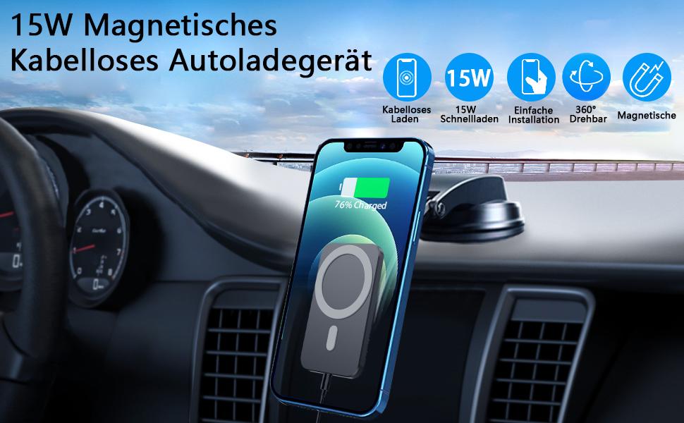 Blsyetec 15w Handyhalterung Auto Magsafe Ladegerät Für Iphone 12 Pro Max Mini Magnetisches Wireless Charger Kabelloses Ladegerät Mit Saugnapf Halter 360 Lüftungsclip Elektronik