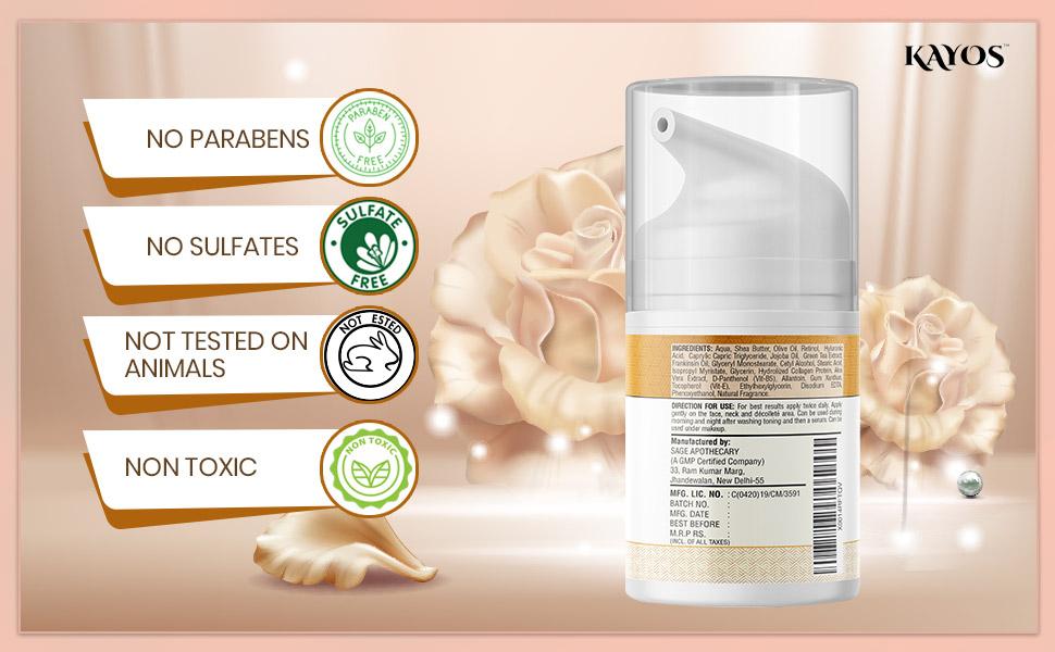 sulfate parabens free facila cream for anti aging