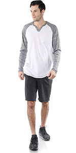 zoom button henley raglan long sleeve round bottom moon color block activewear mens signature