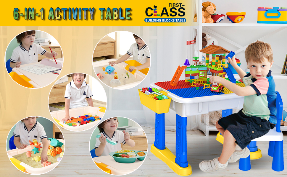 Multifunctional Building Table Learning Storage Table Child DIY Building Block Gift for 3-8 Years Old 6 In 1 Children Table and Chair Activity Table
