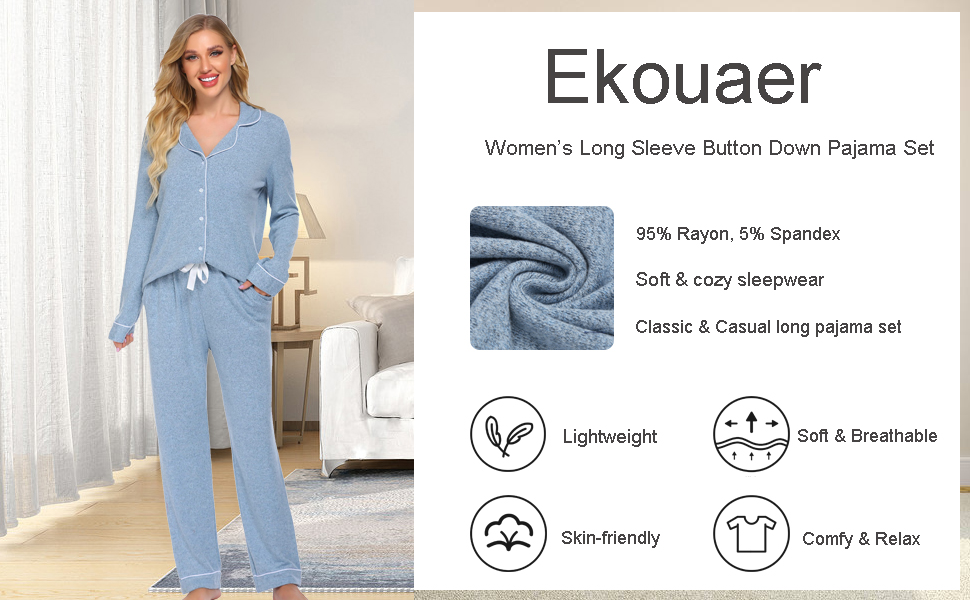 ekouaer soft cozy sleepwear long sleeve pajamas casual loungewear set