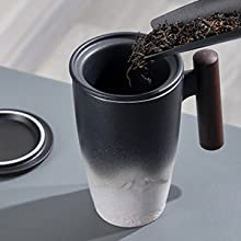 Pour tea into infuser