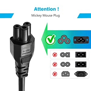 laptop power cable cord- 3 pin adapter