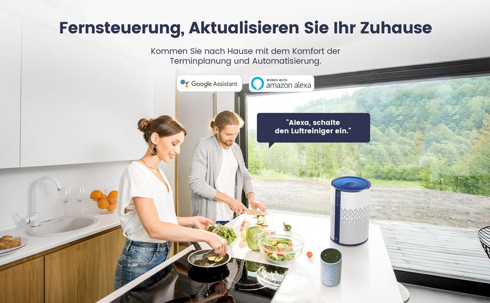 Tcl Luftreiniger Für Zu Hause Mit Echtem Hepa H13 Filter Luftreiniger Fängt Rauchstaub Und Haustierschuppen Auf Leise Im Schlafzimmer Mit Umgebungslicht Kompatibel Mit Alexa Google Assistant Baumarkt