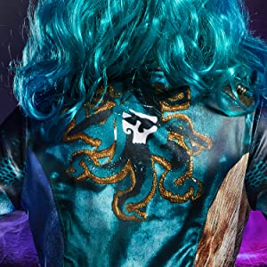 uma costume closeup, accessories, jacket details, bright turquoise, vibrant patterns