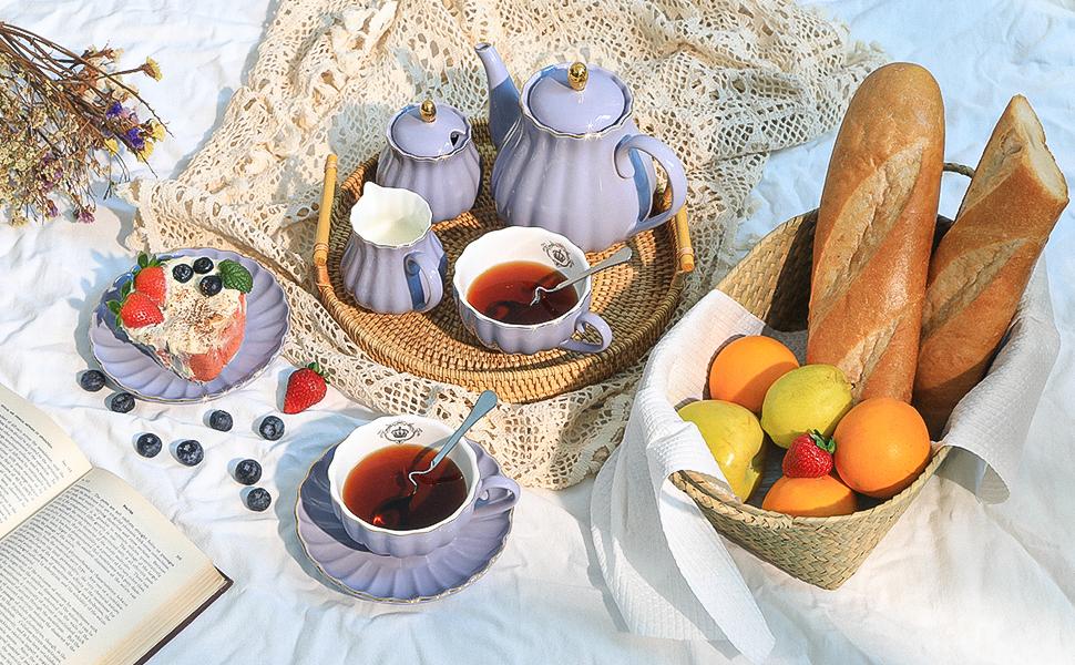 Porcelain tea set-purple-banner