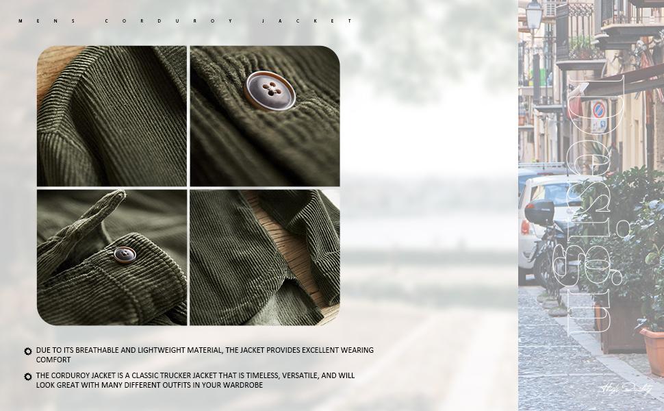 button down Corduroy Shirt Lightweight Jacket for Men