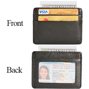 Marron Cuir Véritable ID Crédit Huître Bank Card Holder Wallet Slim Doux Poche
