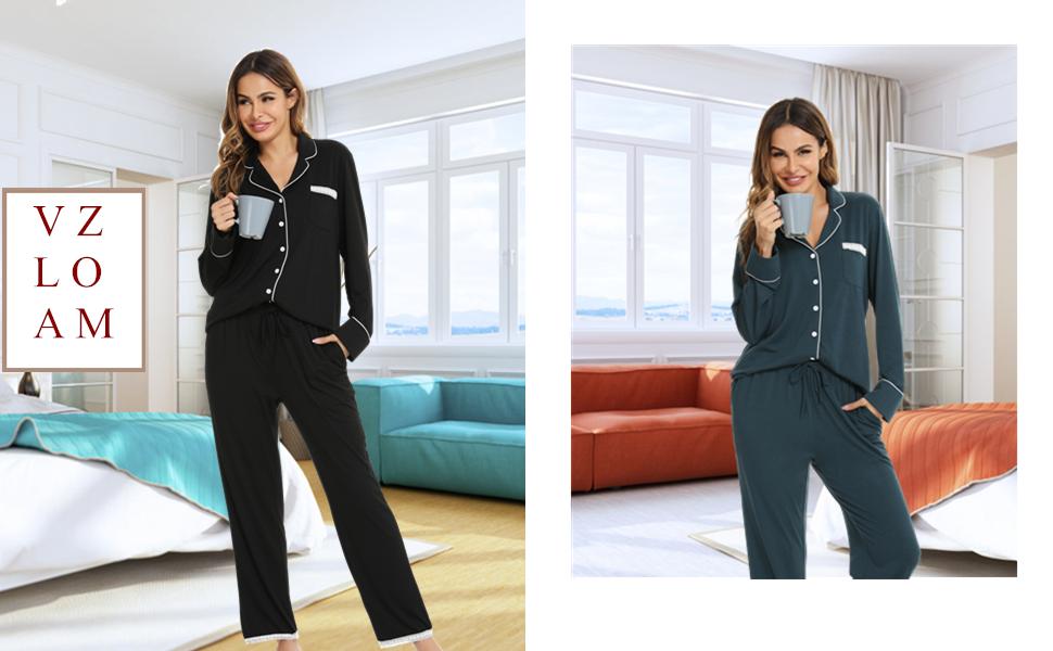 Vlazom Button Down Women's Long Pyjama Sets