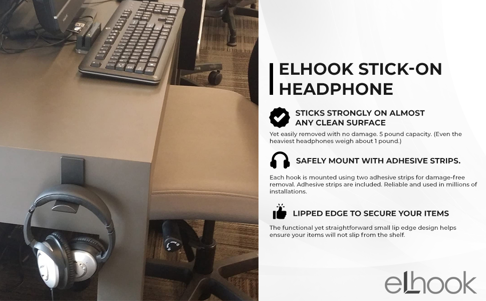adhessive sticky headphones table clean modern organize office workspace minimal clutter free