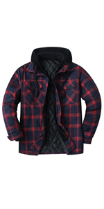 Men's Thicken Plaid Hooded Flannel Shirt Jacket with Quilted Lined