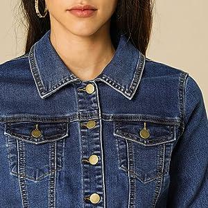 Allegra K Women's Classic Long Sleeve Button Down Trucker Jean Denim Jacket