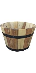 Round Wood Barrel Planter