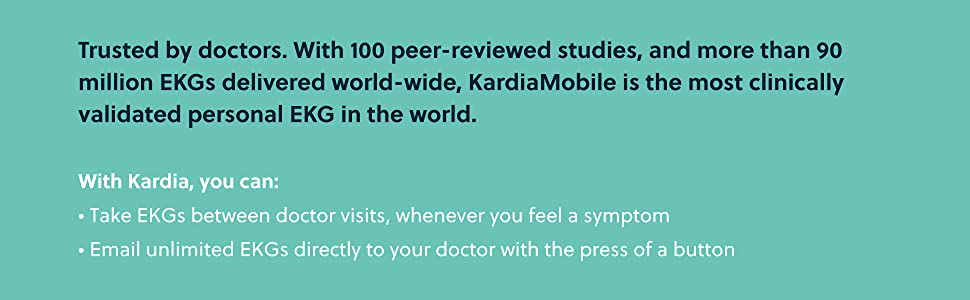 Trusted by doctors. 100 peer reviewed studies, 90 million EKGs. Email unlimited EKGs to your doctor