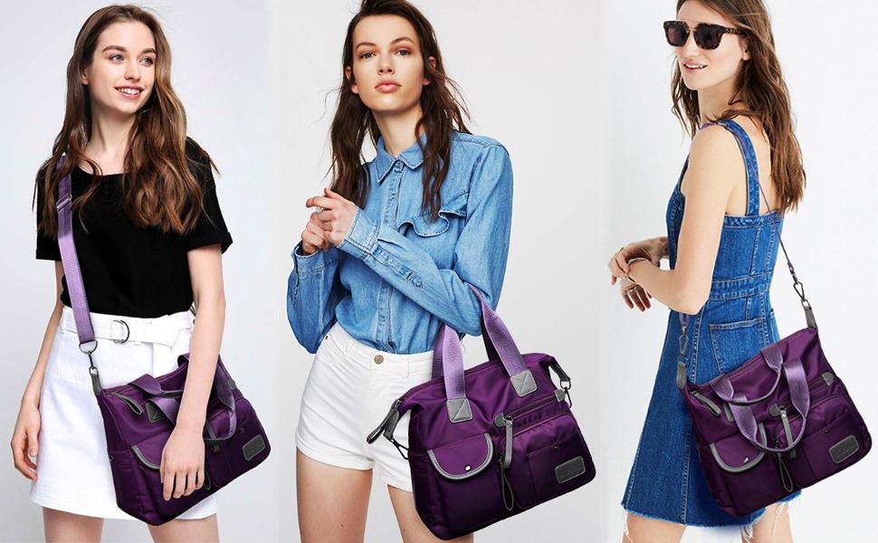 BOGEZ Grande Bolsos para Mujer Nylon Bolsa de Hombro Bolso de Impermeable Hobo Mensajero Casual Bandolera Moda Escolar Satchel Bolsos de Viaje Azul