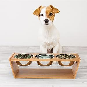 Ciotole per Cani e Gatti Ciotoline in Ceramica Supporti in Bamb/ù per Animali Domestici Scodella Rialzata per Cane e Gatto Facile da Pulire Antiscivolo Adatto a Cani e Gatti di Piccola e Media Taglia