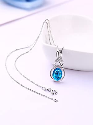 Natural swiss bule topaz sterling Silver penant necklace