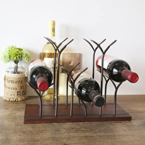 Metal Wine Holder Bottle Stand Kitchen Table Décor Hand Crafted Vase Holder