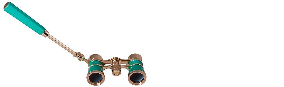 Levenhuk Broadway 325L Lime Lorgnette Opera Glasses: telescopic handle
