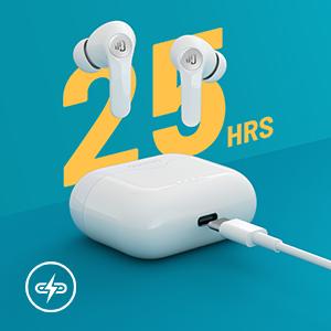 25 horas de tiempo total de reproducción y carga rápida USB-C
