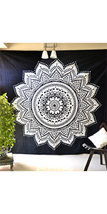 black and white tapestry, tapestry black and white, hippie tapestry, black blanket, boho blanket
