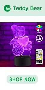 easuntec teddy bear 3d led illusion lamp