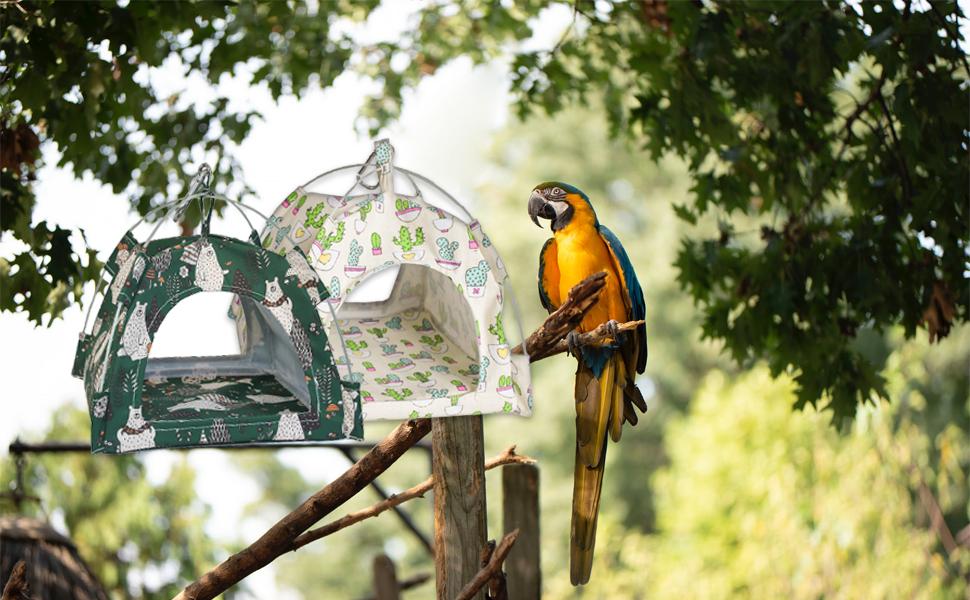 MYDAYS Bird Nest House Bed, Parrot Hamster Habitat Cave Hanging Tent Hammock