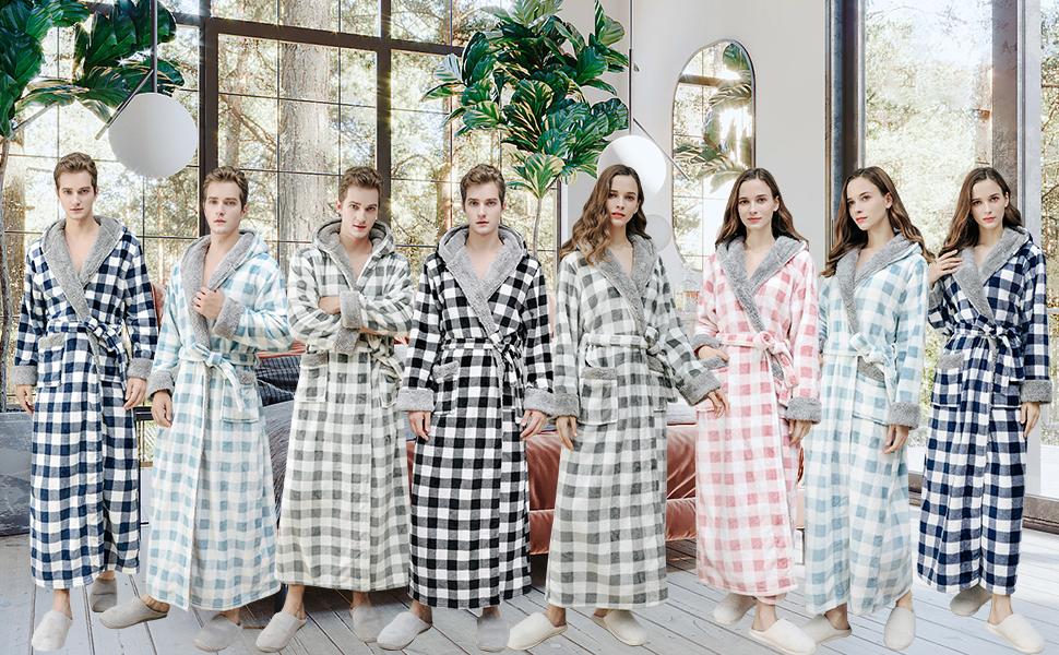 Unsex Dressing Gown Full Length Winter Hooded Bathrobe Robe Housecoat Nightwear Sleepwear