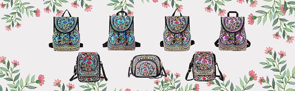 vintage ethnic flower cross-body bag