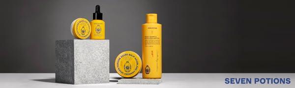 Seven Potions header gentlemen's grooming essentials hair brush beard oil background
