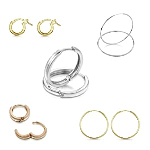 Amberta 9ct Real Yellow Gold Hoops - Sleeper Creole for Women