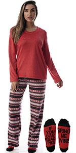 Just Love pajamas pajama set pj lounge loungewear jammies winter fairisle snowflake socks