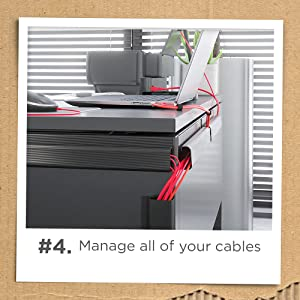 Pro Office under desk cable management j channel raceway black conceals all your cords