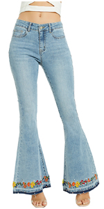 Women Bell Bottom Jeans Embroidered Flared Denim Pants