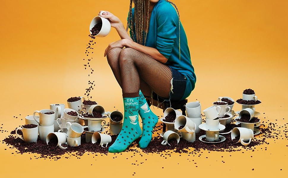 womens novelty funny fun socks coffee beans caffeine cuppa joe
