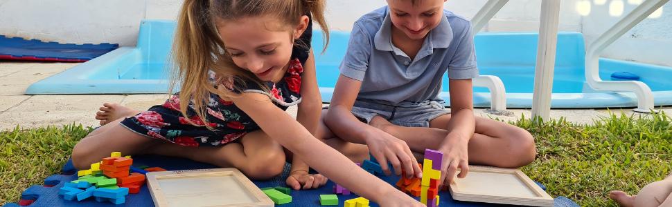 Extasticks tetralino Tetris wooden Waldorf puzzle kids tanagram tangram Russian blocks brain elderly