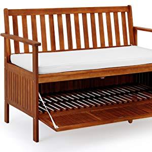 Deuba Banco de madera 2en1 compartimento almacenamiento incl.Cojín de asiento 120cm Banco de parque jardín terraza patio: Amazon.es: Jardín