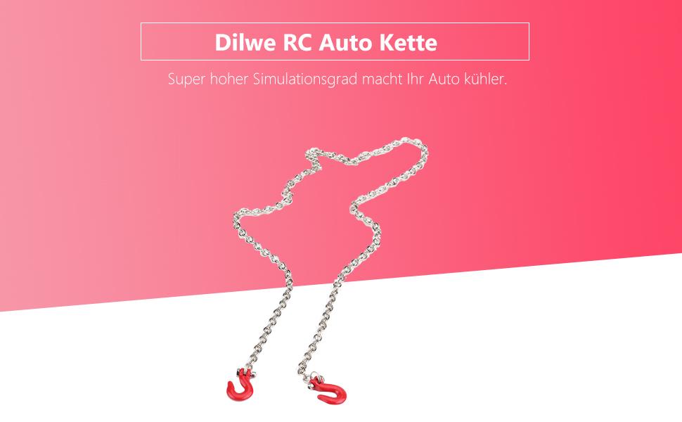 Dilwe Rc Auto Kette Metall Rc Anhänger Abschlepphaken Und Kette 31 Zoll Lange Simulation Rc Auto Zubehör Für 1 10 Rc Crawler Climbing Auto Spielzeug