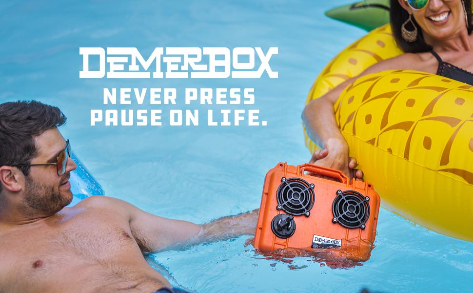 waterproof bluetooth speaker portable outdoor rugged loud speakers demerbox stereo sound multipair