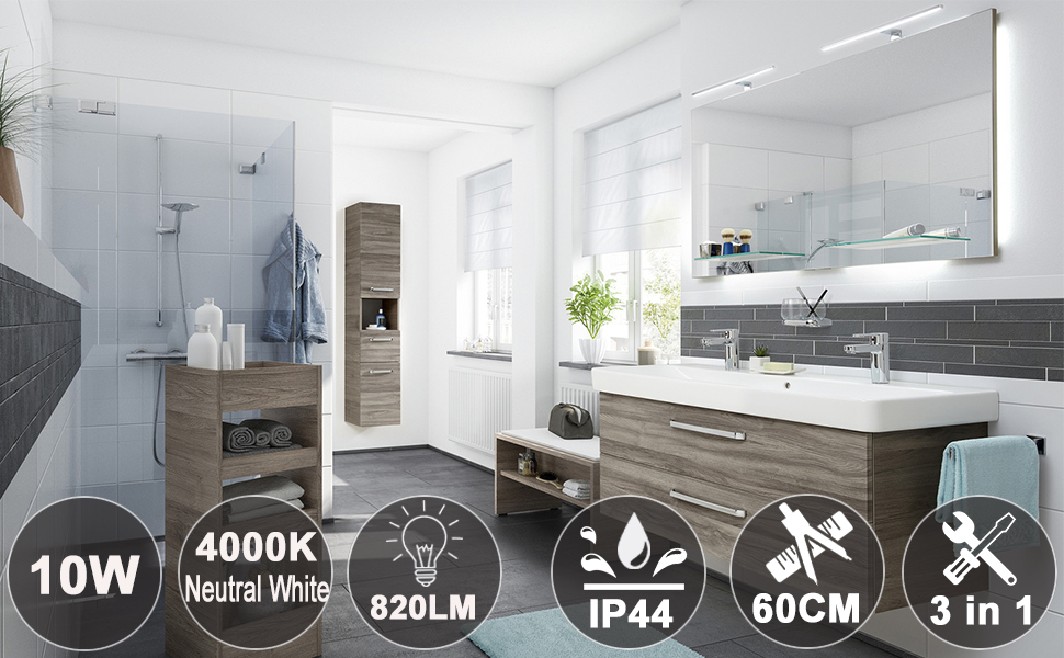 LED Mirror Light 10W 820LM 60cm 230V IP44 Bathroom Lamp Azhien