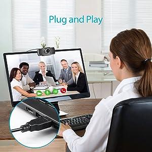 conecta y reproduce  Camara web 1080P HD con micrófono, cámara web de computadora USB para computadora portátil, reducción de ruido, visión de ángulo amplio de 105 ° para streaming, confrencia de zoom, juegos, YouTube Skype FaceTime. (Negro) 21defef1 a517 47c4 91ee 7f3fb4651051