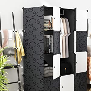Portable Wardrobe for Hanging Clothes, Combination Armoire, Modular Cabinet for Space Saving, Ideal