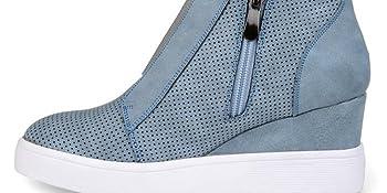 wedge sneaker platform fashion sneaker high top cut out heel sneaker strap wedge bootie snealer
