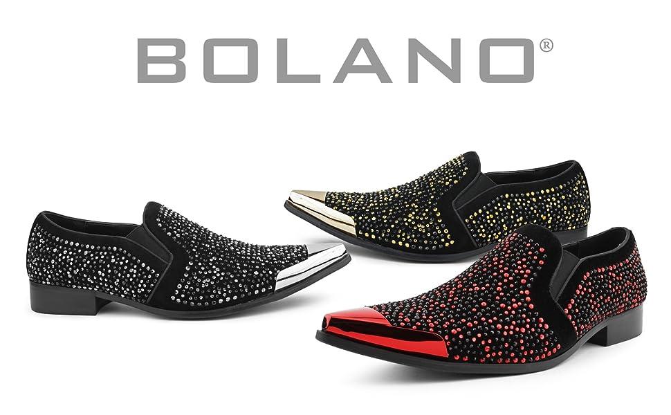 Bolano Mens Rhinestone Dress Shoes Formal Tuxedo Slip On Designer Smoking Loafer