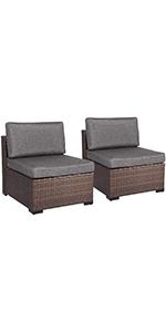 2 armless sofas