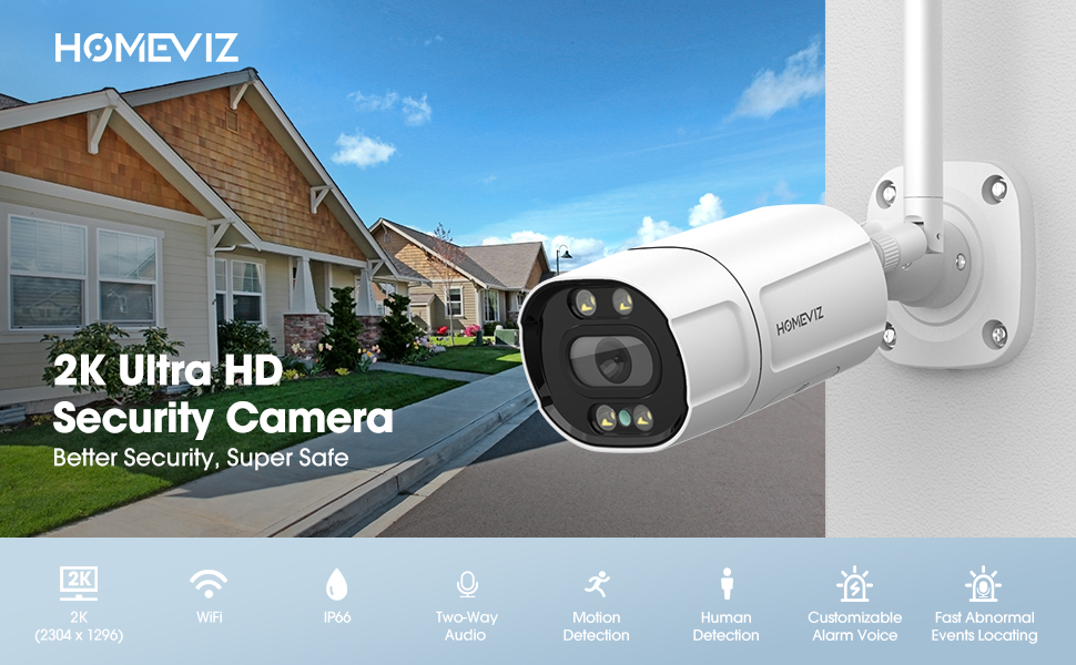 HOMEVIZ 2K Security Camera Outdoor